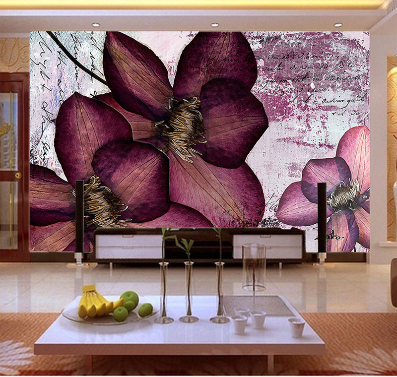 Wholesale Purple Flower 3d Wall Mural Vinyl Wallpaper for TV Sofa Background Bedding Room 3d Wall Photo Mural Fresco Home Decor 3d purple lilies flower mural photo wallpapers roll for living room home wall decor lily floral wallpaper wall 3 d papel pared