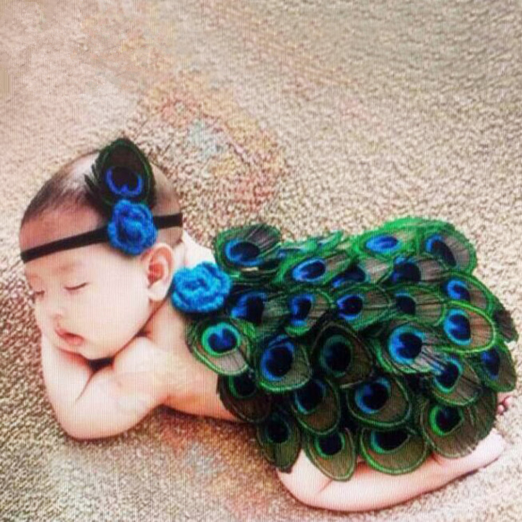 2016 Fashion New Style Baby Crochet Photography Props Peacock Baby Girl Knitted Costume Newborn Photo Props newborn baby photography props infant knit crochet costume peacock photo prop costume headband hat clothes set baby shower gift