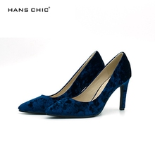 HANSCHIC 2017 New Arrival Floral Dark Navy Blue Retro Slip on Ladies Womens High Spike Heels Pumps Shoes for Women 1066-3