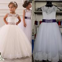 2016フラワーガールのドレスリアル写真付き鍵穴バックとレーストップとふくらんプリンセススカート少女のウェディングドレス