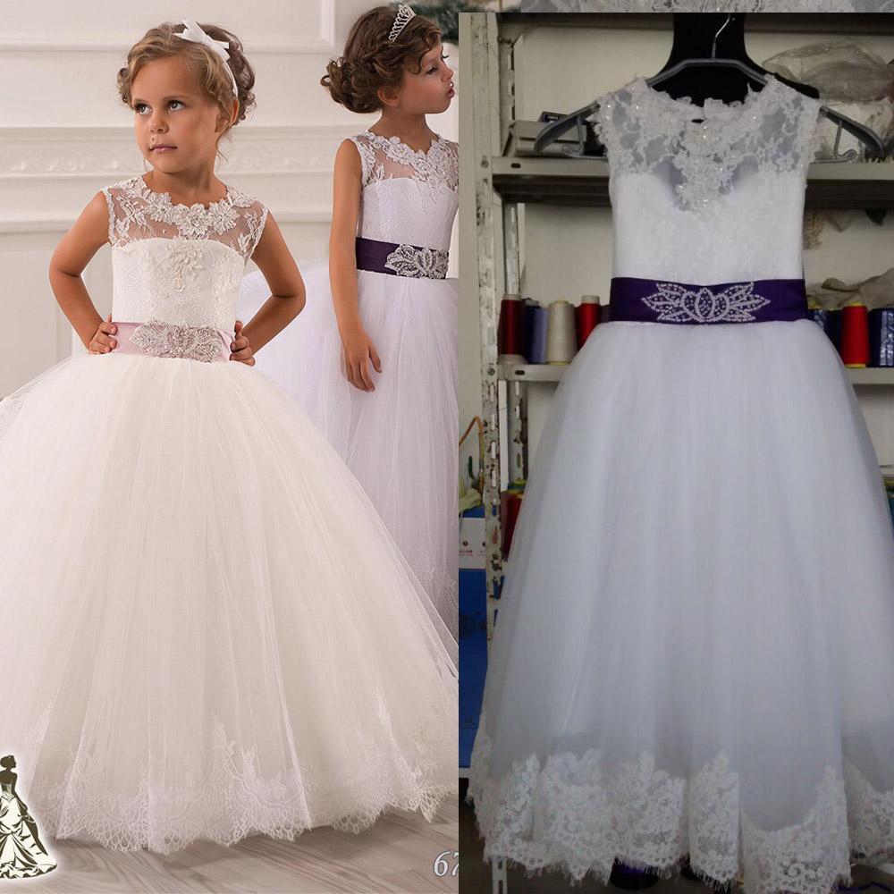 Style Unique dos dentelle Top jupe princesse gonflée enfants robe de bal robes de demoiselle d'honneur pour la fête de mariage
