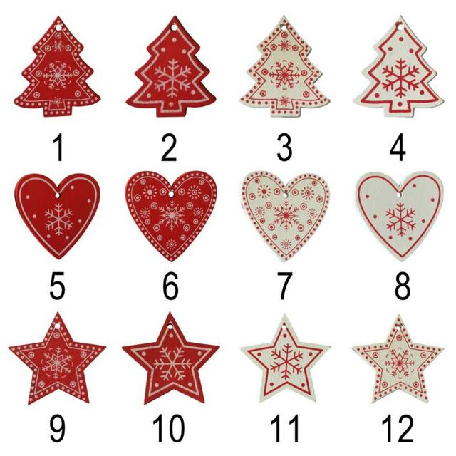10pcs/set White Red Christmas Tree Ornament Wooden Hanging Pendants Angel Snow Bell Elk Star Christmas Decorations for Home 5