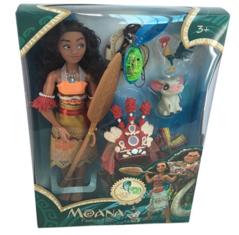 Vaiana Moana And Maui Action Toy Figures Chick Heihei Spotted Action Figures Toys With Light And Music Model Vinyl Doll