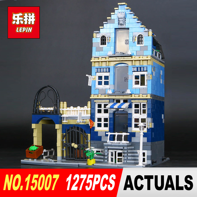 1275Pcs Lepin 15007 Factory City Street European Market Model Building Block Set Bricks Kits Compatible 10190 Educational toy 15007 1275pcs factory city street european market model building set kits mini blocks compatible with 10190 toys lepin