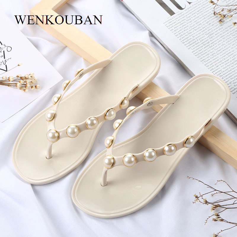 Fashion Beach Slippers Women Flip Flops Summer Pearl Shoes Bathroom Slippers Ladies Casual Shoes Outdoor Mules Chaussure Femme candy colors women slippers clogs mules eva 2017 summer flip flops beach garden shoes fashion sandals outdoor chinelo feminino