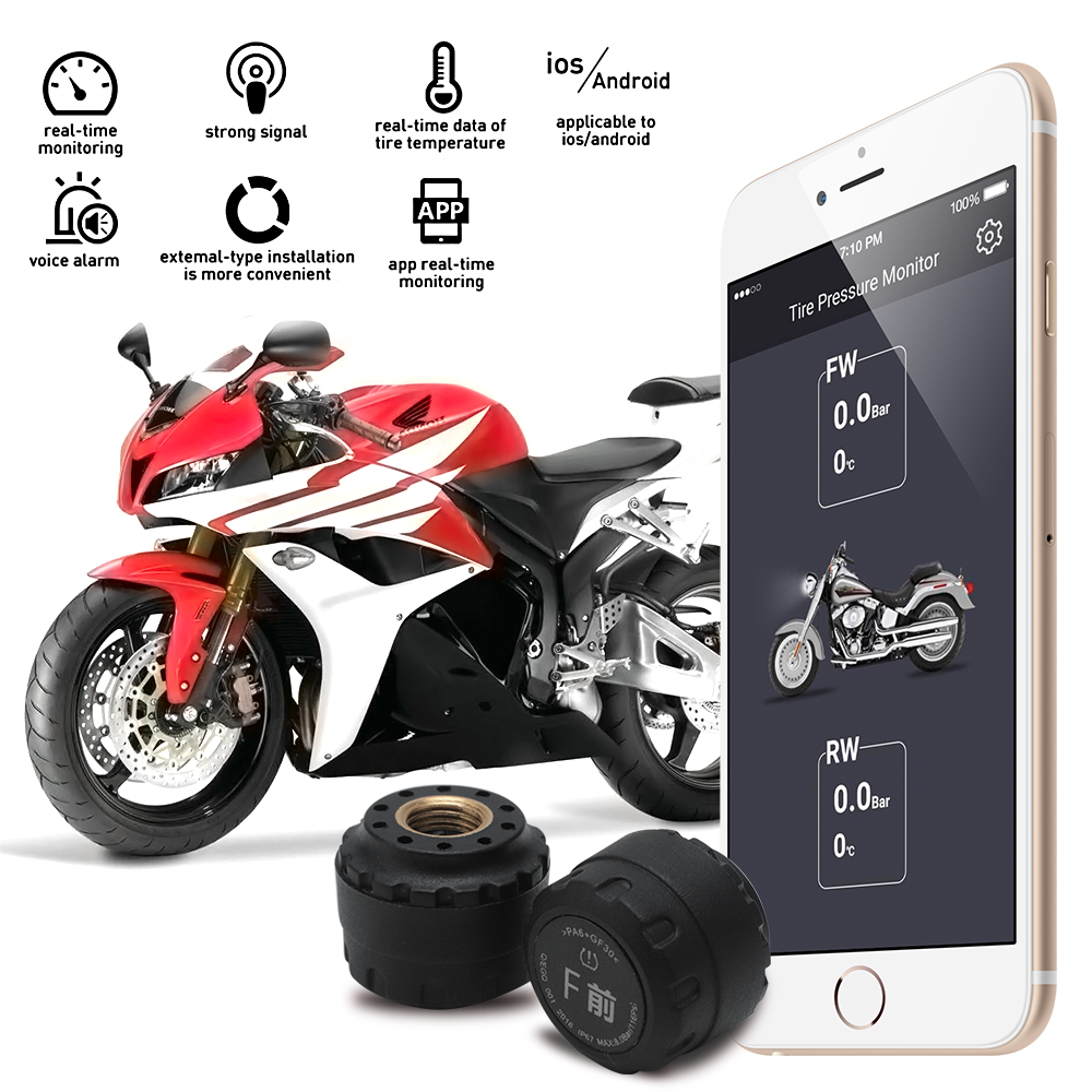 BORUiT Motorcycle for Bluetooth Tire Pressure Monitoring System TPMS Mobile Phone APP Detection 2 External SensorsBORUiT Motorcycle for Bluetooth Tire Pressure Monitoring System TPMS Mobile Phone APP Detection 2 External Sensors