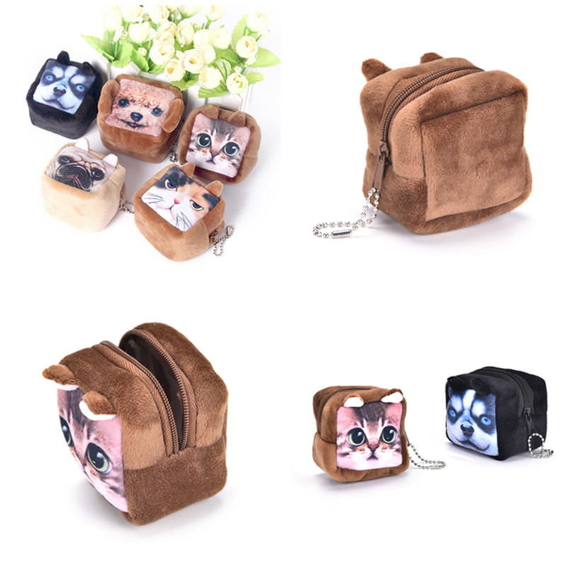 Animal Face Coin Purse Wallet Square Shape Women Mini Coins Bag Headset Package Bag