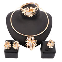 18K Gold Plated Nigerian Wedding African Beads Jewelry Set Crystal Saudi Jewelry Sets Bangle Earring Ring