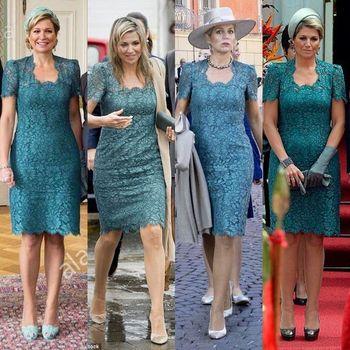 Lace Mother of the Bride Dresses 2019 Vintage Square Knee Length Short Sleeves vestido de madrinha farsali Custom Make 5