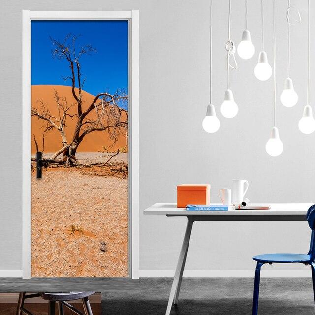 Moderen Sederhana Desert Cabang 3D Dinding Mural Stiker Pintu