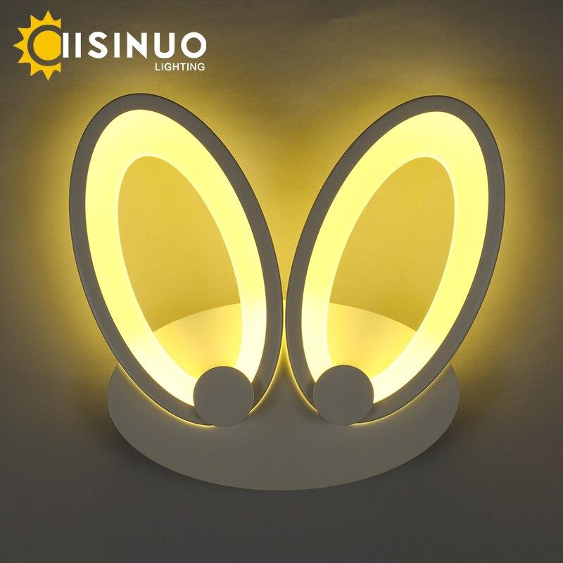Işıklar ve Aydınlatma'ten LED İç Mekan Duvar Lambaları'de Led duvar Lambaları Modern Basit güzel Tavşan Eears çocuk Odası/yatak odası lambası 16 W Başucu Okuma Aydınlatma Duvara Monte AC90 260V title=