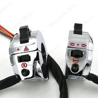 1 Pair Electroplate Chrome Motorcycle Switch Power 12V For Universal Motorcycle Bike ATV Dirt 7 8