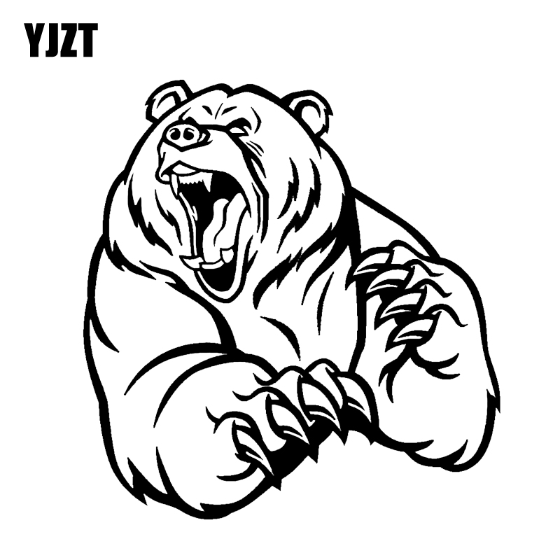 YJZT 12.2*12.9CM Funny Angry Brown Bear Car Sticker Decoration Vinyl Motorcycle Accessories C12-0401