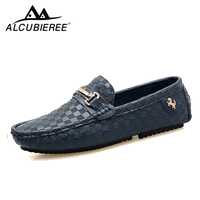 Men Casual Shoes Embossed Leather Moccasins for Men High Quality Slip on Flats Loafers Fashion Buckle Style Driving Shoes