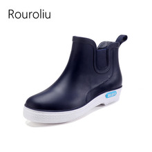 Rouroliu Men Autumn Rainboots Ankle Footwear Waterproof Water Shoes Male Wellies Breathable Safety Work Rain Boots RT408