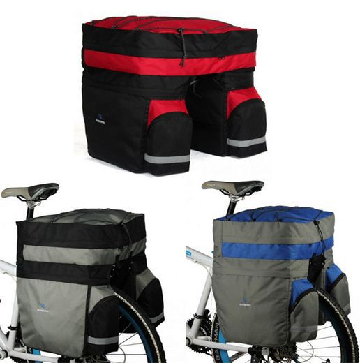 ФОТО ROSWHEEL Cycling 60L Bicycle Double Side Rear Rack Bag Tail Seat Pannier 3-Color