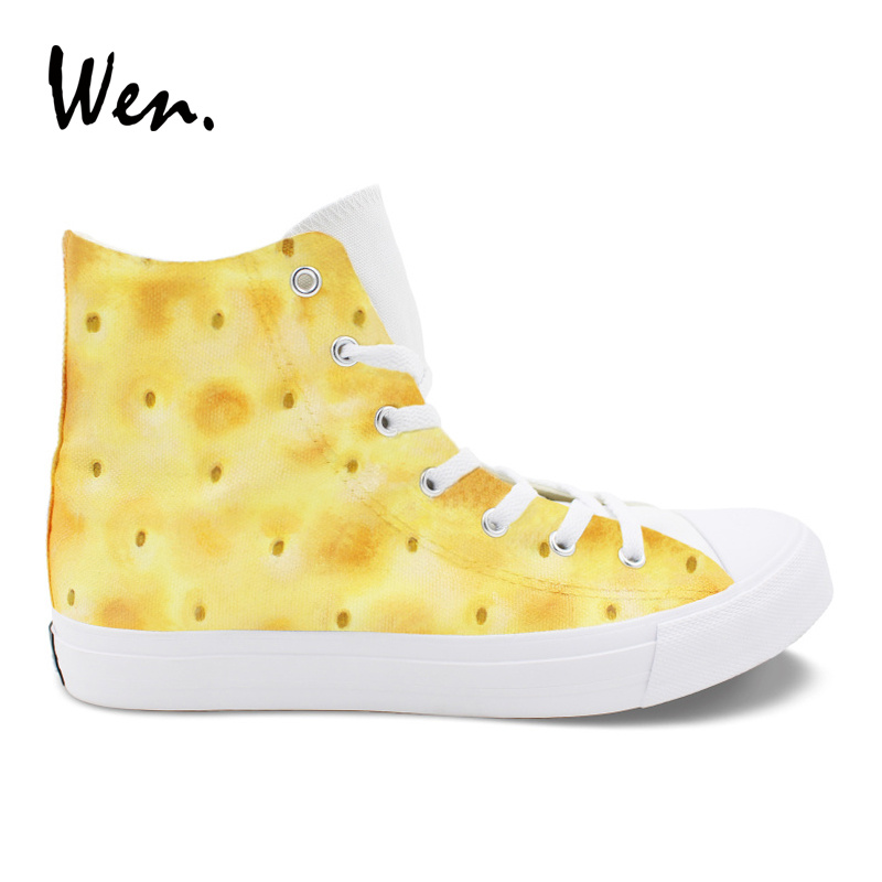 Wen Original Design Biscuit Cookies Hand Painted Shoes Lace Up Male Canvas Sneakers High Top Lacing Flat Loafer Female PlimsollsWen Original Design Biscuit Cookies Hand Painted Shoes Lace Up Male Canvas Sneakers High Top Lacing Flat Loafer Female Plimsolls