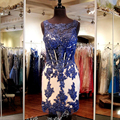 Navy Blue Vestido De Cocktail Dresses With Lace Appliques Beaded See Through Above Knee Party Dress