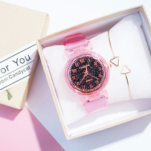 Non-waterproof fashion new starry trend Korean version of the simple casual student cherry powder watch