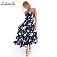 Jiekanila 2017 Navy Floral Print Summer And Spring Dress Halter Backless Maxi Dress Female Women High