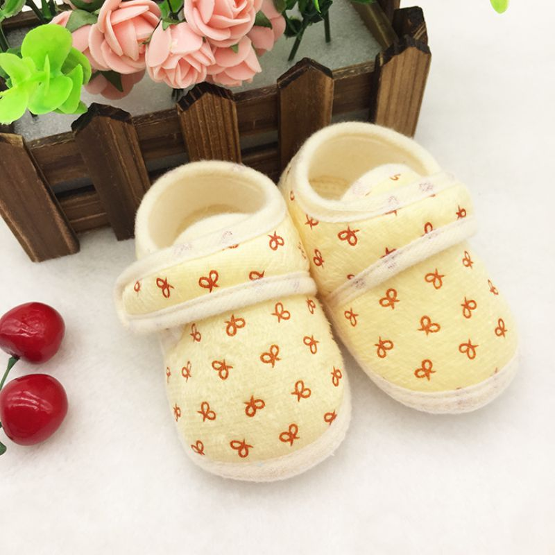 Baby Cute Bowknot Print Shoes Infant Girl Boy Anti-slip Soft Cotton Soled Sneaker Toddler