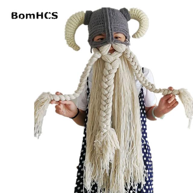 BomHCS Vikings Beanies Beard Horn Hats Handmade Knitted Caps Men's Women Birthday Cool Gifts Party Mask