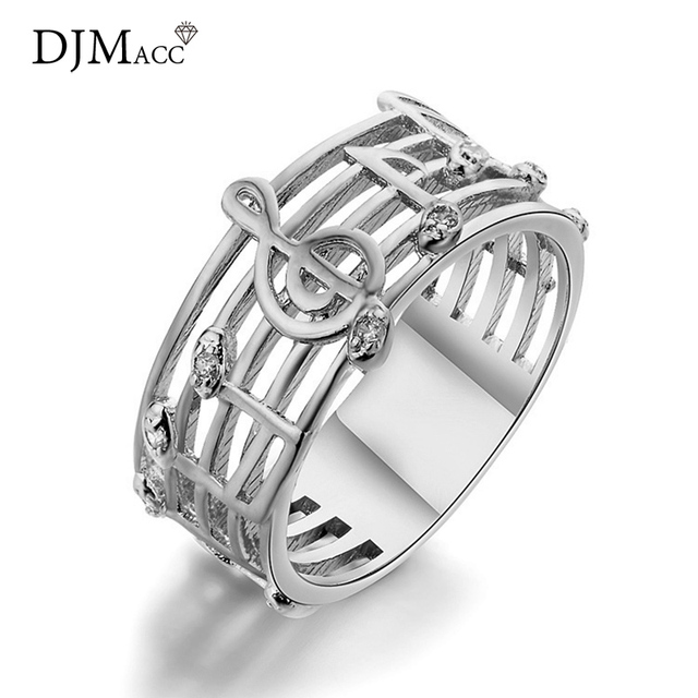 Djmacc Classic Brand Design Music Note Crystal Hollow Wide Sliver