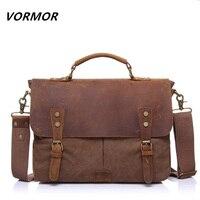 2015 Canvas Leather Men S Briefcase Casual Vintage Men S Crossbody Bag Bussiness Shoulder Messenger Bag