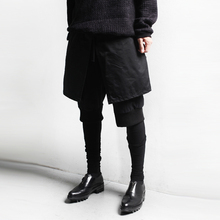 New spring men casual pants male hairstylist pants skinny fake three pieces personality trousers men punk culottes pant K464