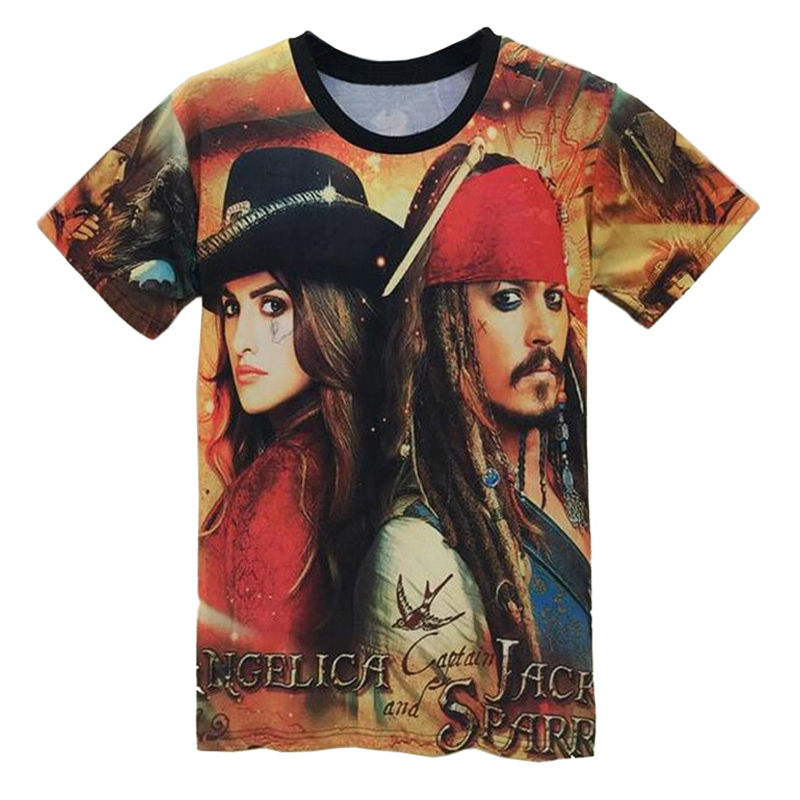 Summer Casual Men And Women Clothing Short-sleeved Shirt Pirates Of The Caribbean 3D Printing Fashion O-neck Tee Tops