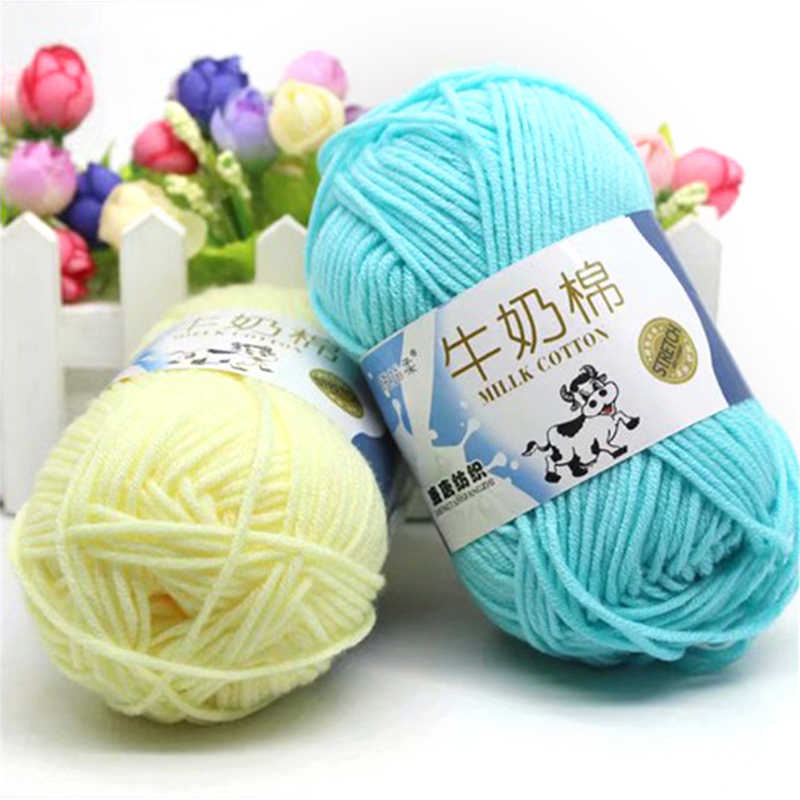 25g/ball Colorful Combed Soft Baby Milk Cotton String Apparel Sewing Fiber Hand Knitting Chunky Wool Crochet Yarn DIY Sweater