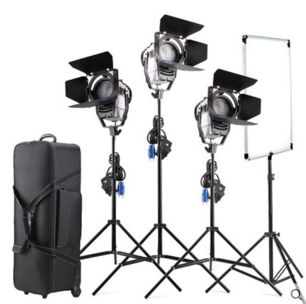 Dimmable Bi-color 3pcs LED100W LED Studio Fresnel spot Light 3200-5500K+Light Stand+Flag Reflector+Carry bag for Studio video