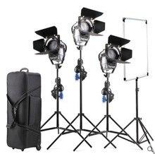 Dim Bi-renk 3 adet LED100W LED Studio Fresnel spot Işık 3200-5500 K + Işık Standı + bayrak Reflektör + Stüdyo video için Taşıma çantası