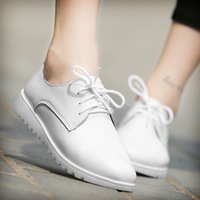 HOT SALES Women Oxfords Flats Genuine Leather Lace Up Moccasins Ladies Spring Shoes Vintage Fashion Artistic