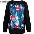 Горячие Продаж 100% brand new и высокое качество Женщины Рождество Санта клаус 3D Печати С Длинным Рукавом Пуловер Топ Блузка 10 Октября