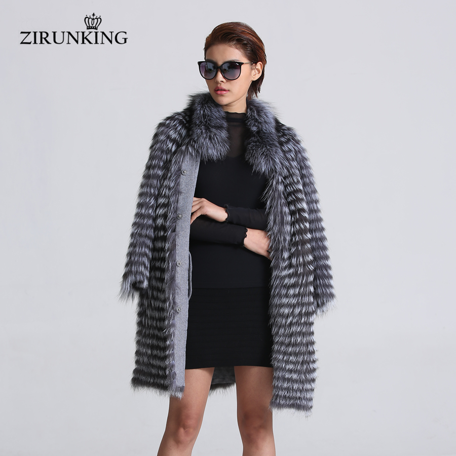 ZIRUNKING Women Real Silver Fox Fur Coats Fashion Fur Jacket Striped Style Overcoat Women Fox Fur Outerwear Clothes ZCW-02YL
