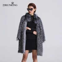 ZIRUNKING mujeres Piel de zorro plateado real abrigos de piel chaqueta a rayas estilo abrigo de las mujeres de piel de zorro ropa ZCW-02YL