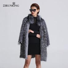 ZIRUNKING סרוג אמיתי כסף שועל פרווה מעילי אופנה פרווה מעיל פסים סגנון תלבושת נקבה שועל פרווה לסתיו ZCW 02YL