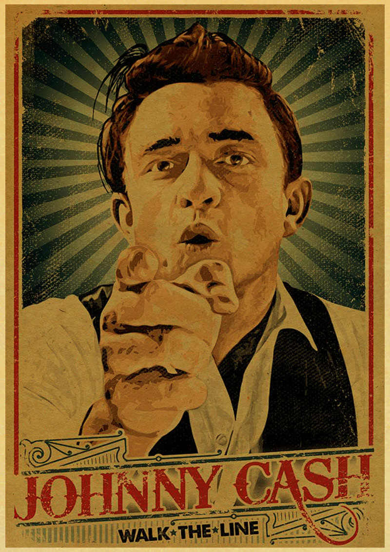 Country Music Singer Johnny Cash Posters Good Quality Painting Vintage  Poster Kraft Paper For Home Bar Wall Decor/Stickers| | - AliExpress