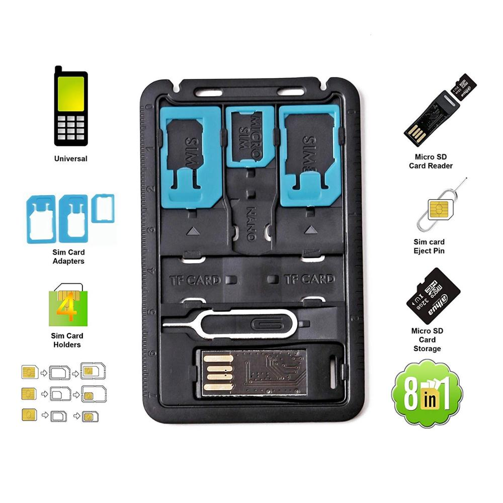 All In One Credit Card Size Slim SIM Adapter Kit With TF Card Reader & SIM Card Tray Eject Pin, SIM Card Holder
