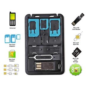 All in One Credit Card Size Slim SIM Adapter kit with TF card reader & SIM Card Tray Eject Pin, SIM Card holder(China)