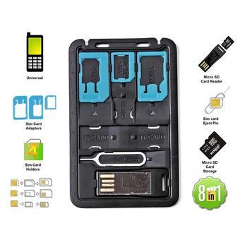 Wszystko w jednym rozmiar karty kredytowej Slim zestaw adapterów SIM z czytnik kart tf i taca kart SIM szpilka do wysuwania tacka na karty SIM tanie i dobre opinie Dwóch kart sim adaptery