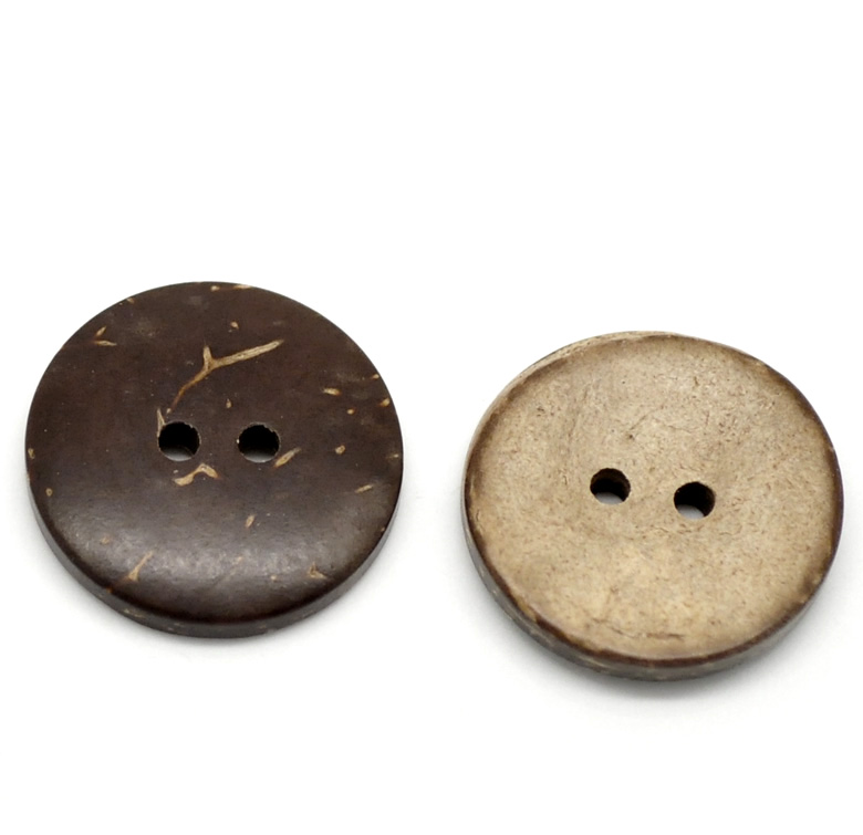 FUNIQUE Hot Selling 100PCs Brown Coconut Shell Buttons For Scrapboking 2-Holes Buttons For Clothing Sewing Accessories 20mm