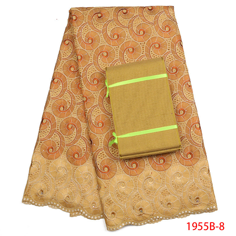 Coton Tissu 2018 Haute Qualité Brodé Garniture pierres coton Dentelle Tissu jaune Couleur Africaine Tissu Dentelle Pour Femmes AMY1955B-2