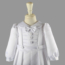 white baby boy broadcloth single breasted solid full sleeve set