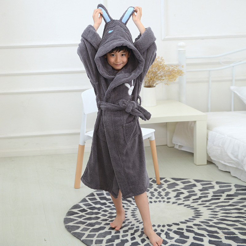 Winter Children Bathrobe Kids Baby 100% Cotton Hooded Nightgown Cartoon Cap Boys and Girls Thick Soft Long Christmas Autumn