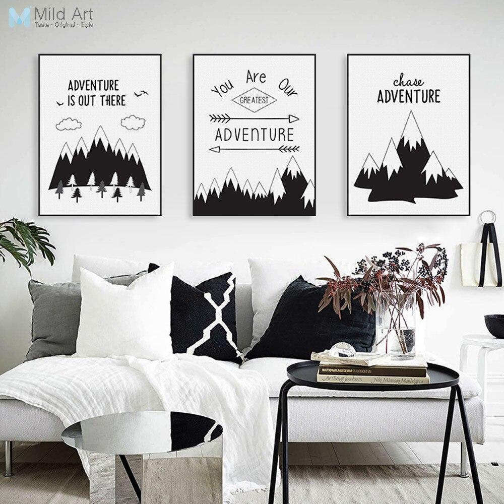 Morden Black White Nordic Adventure Mountain Motivace Citáty A4 Plátno Umělecká reprodukce Nástěnná malba Obývací pokoj Domácí dekorace Žádný rám
