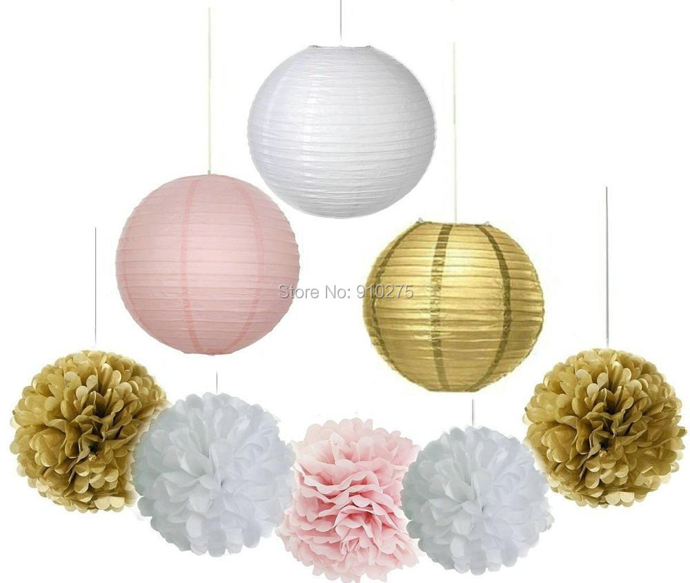 9PCS Gold Pink White Decorative Party Paper Pack Hanging Paper ...