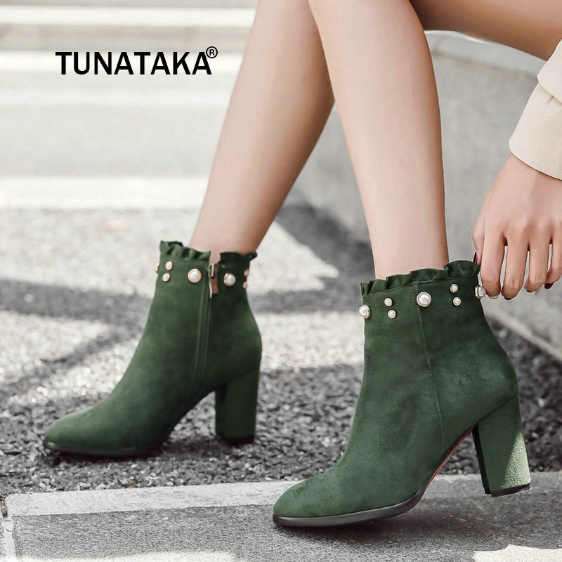 Women Faux Suede Side Zipper Ankle Boots Fashion String Bead Thick High Heel Winter Shoes Green Black women faux suede side zipper thick high heel ankle boots fashion pointed toe keep warm winter shoes black gray army green khaki