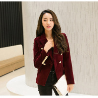 Fashion Women Velvet Slim Long Sleeve OL Formal Work Suit Autumn Jacket H9
